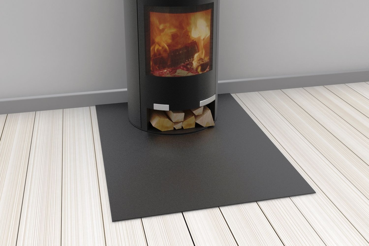 Hearth plates for wood-burning stoves